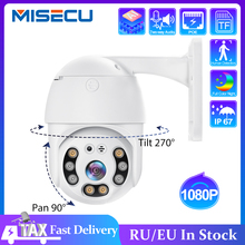 MISECU 1080P PoE IP מצלמה 2MP PTZ מצלמה מהירות כיפה חיצוני Onvif שתי דרך אודיו Ai אדם לזהות מעורר אבטחת מצלמה TF כרטיס