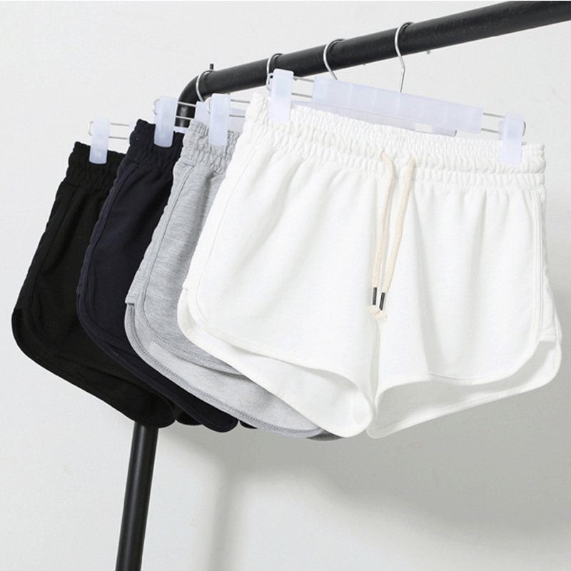 Summer Solid Color Shorts Women 2020 Tether Shorts Casual Running Shorts Female Loose Beach Sexy Short Plus Size S-XXL