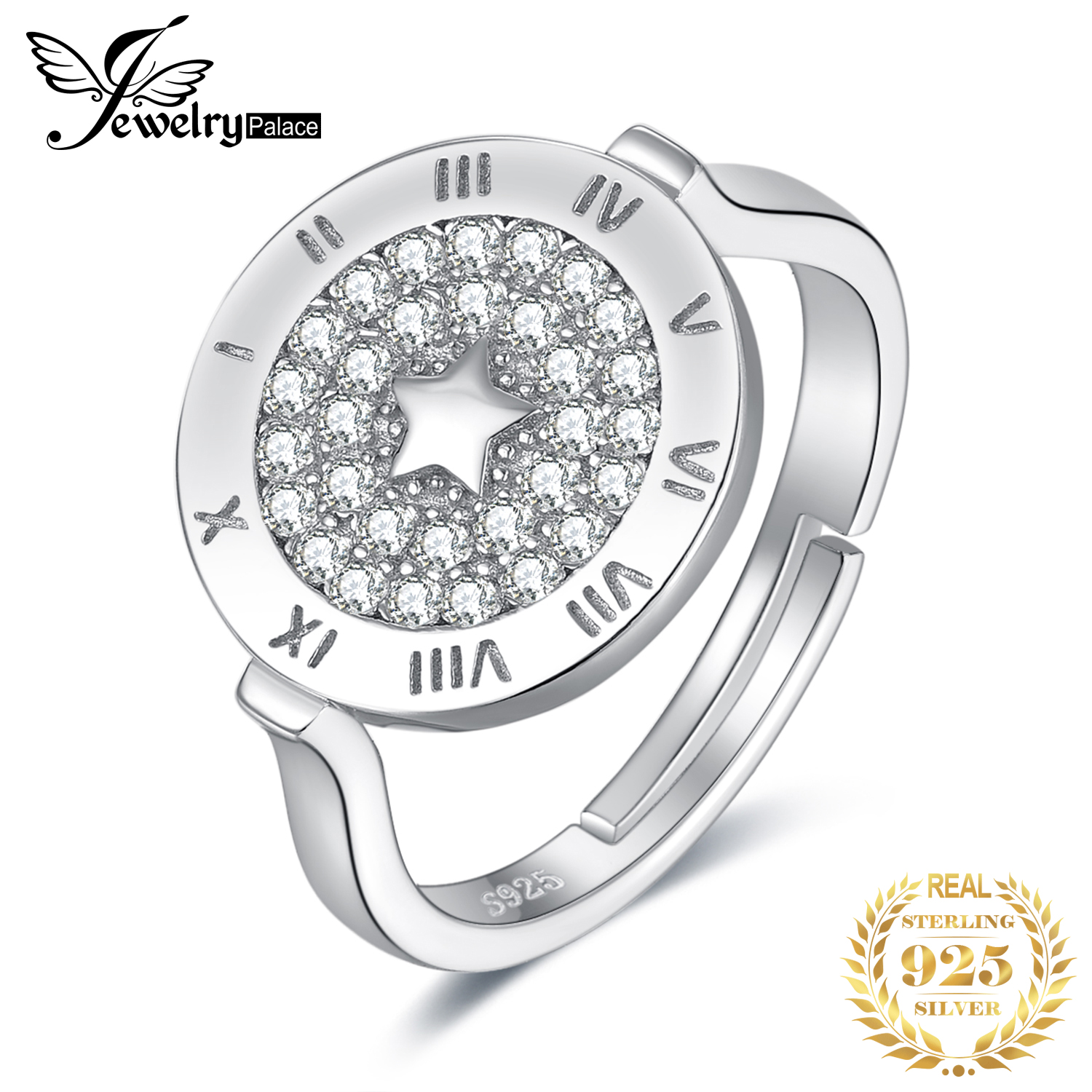 JewelryPalace Round Cubic Zirconia Star Circular Etched Roman  Numeral Adjustable Open Promise Ring 925 Sterling Silver RingsRings