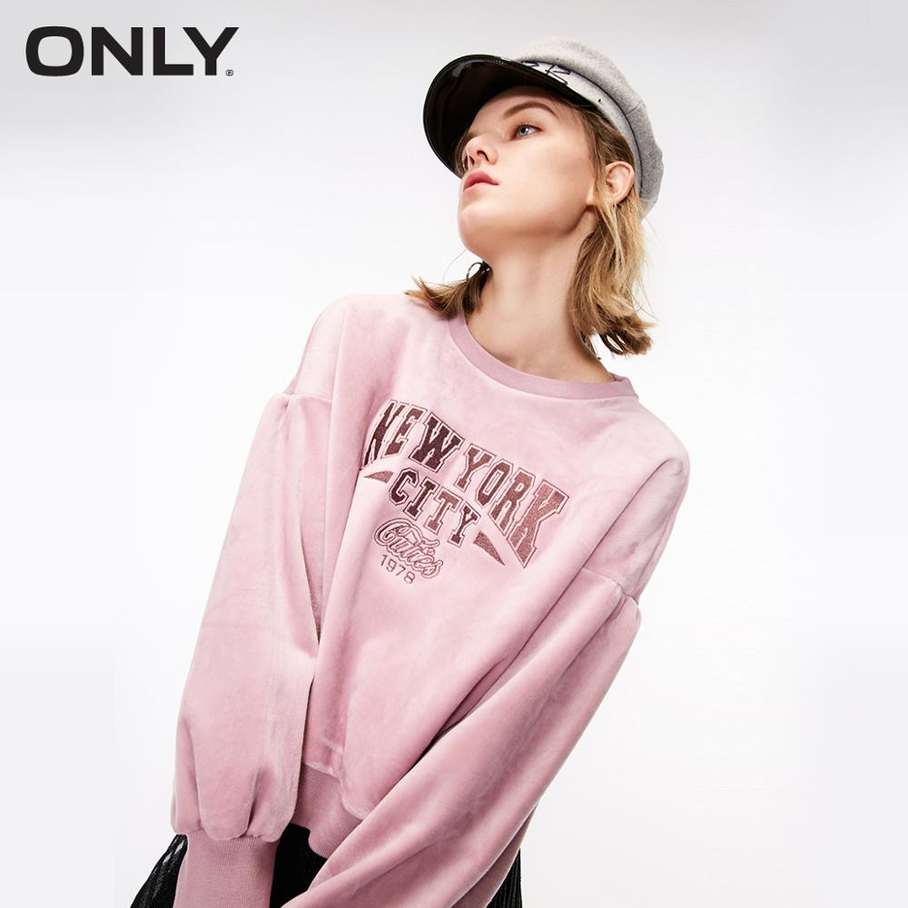 ONLY Autumn New Lantern Sleeves Letter Velvet Hoodie Sweatshirt  |  11839S601
