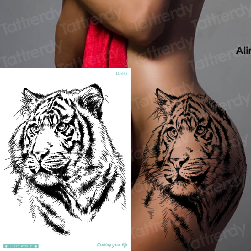 Tiger Skull Leopard Dragon Waterproof Temporary Tattoo Sticker Wolf Animals Tattoos Body Art Arm Hand Men Fake Tatoo Big Sexy