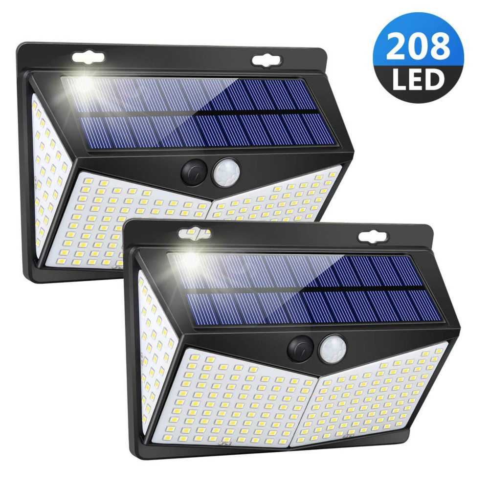 3 Modes 208 LED Solar Lights Outdoor IP65 Waterproof Upgraded Solar Panel PIR Motion Sensor Security Lamp For Garden Decoration