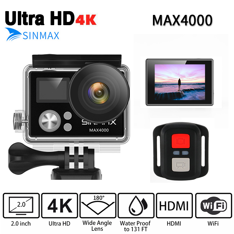 SINMAX Max4000 Ultra Hd 4K Action Camera 30M Waterproof 2.0' Screen 1080P Sport Camera Go Extreme Pro Cam With Remote Controler