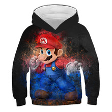 Mode Super Mario Bros Hoodies 3D Druck Cosplay Sweatshirt Tuch Kinder Tops Frühling Unisex Casual Hip Hop Hoodie Junge Pullover(China)