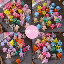 50PCS/Set Small Hair Crabs For Girls Acrylic Cute Candy Color Flower Star Hair Clip Clamp Children Mini Hairpin Hair Accessories