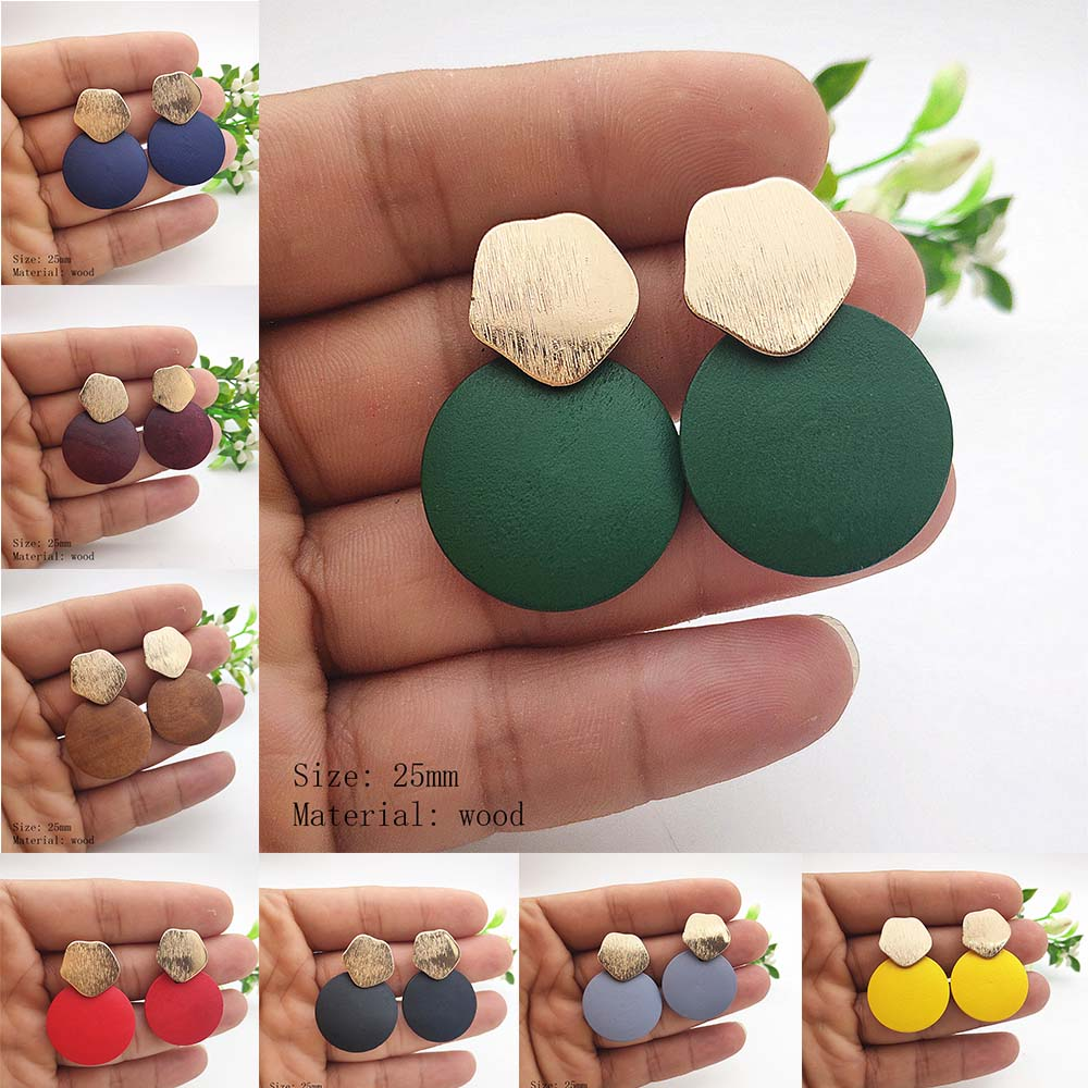 Rose Pendant Earrings Frosted Gold Geometric Earrings Round Wood Pendant Earrings for Women Wedding Jewelry P764-P771