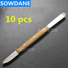 10 Pcs Dental Lab Spatula Stainless Steel with Wooden Handle Mixing Blade Instrument Tool