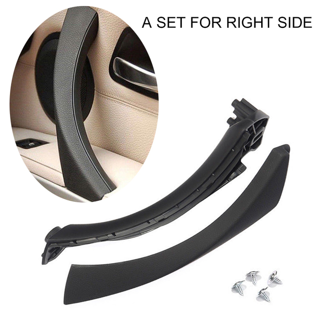Mayitr 1set Black ABS Right Side Inner Door Handle Pull Trim + Cover For BMW E90 E91 316 318 320 325 330 335