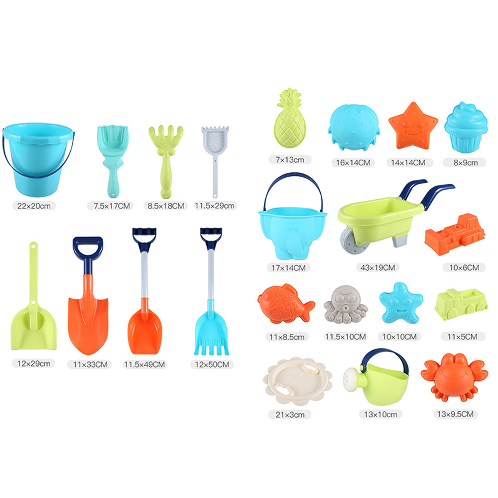 Beach Toy Set Children Summer Silicone Shovel Tool Kit Sand Bucket Rake Hourglass Sandbox Set