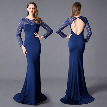 Evening Dress Plus Size Mermaid Jewel Brush/Sweep Train Long Dress Long Sleeves Backless Wedding Guests Elegant with Lace