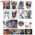 GATYZTORY 60x75cm Rahmen Diy Öl Digitale Malerei Durch Bumbers Kits Tier Abstrakte Acryl Malen nach zahlen Für erwachsene Hause Dekore