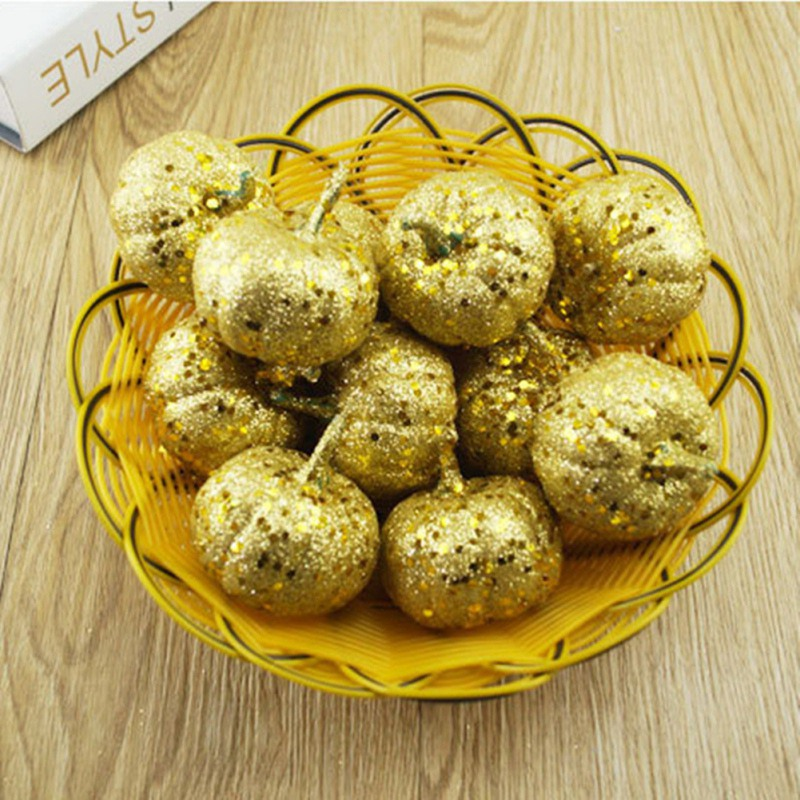 12pcs Glittering Artificial Pumpkins Silver Gold Fake Halloween Decoration For Home Party Thanksgiving Festival Party Props Hot