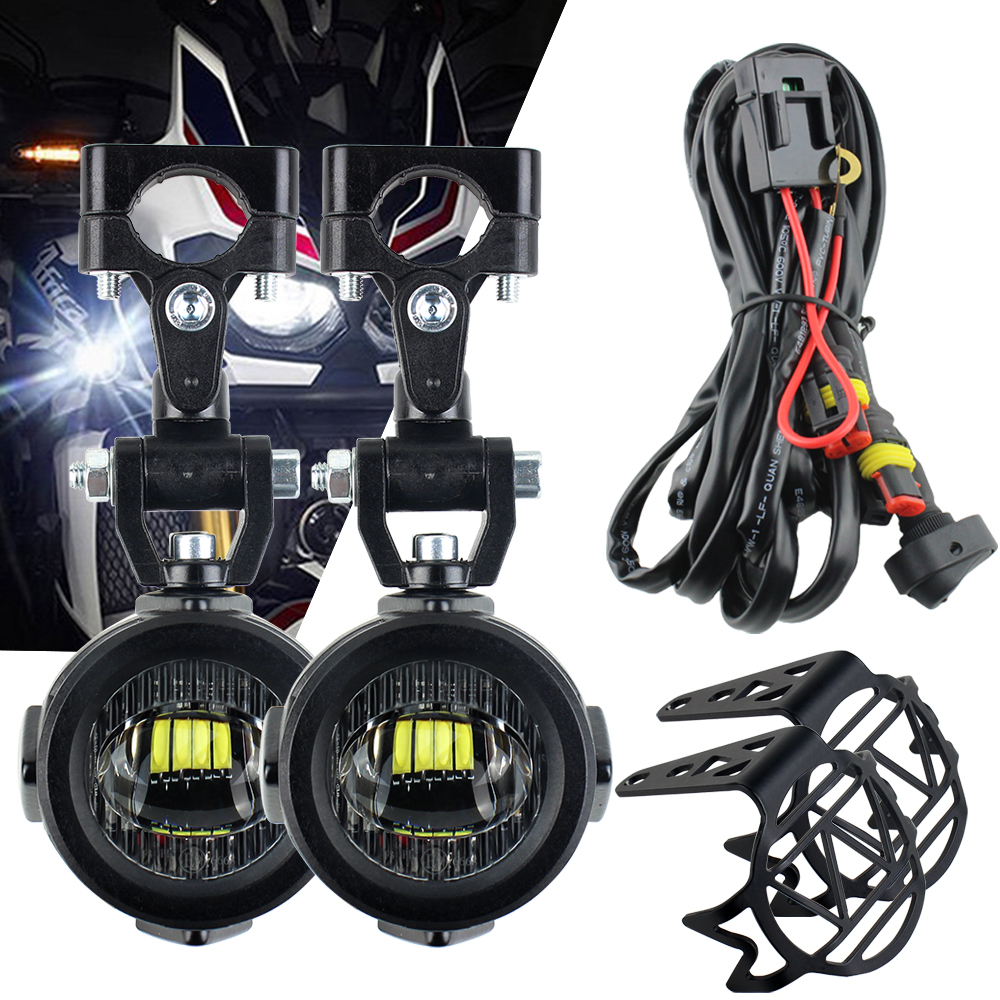 Led motorcycle headlight moto led fog lamps For BMW R1200GS F800 F700GS Front Brackets motorbike Fog Passing Light image