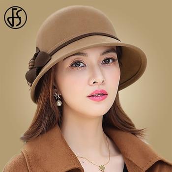 FS Vintage Women Wool Cloche Hats Black Party Formal Top Hat With Flower Mother Gift Lady Autumn Winter Felt Cap vintage wool felt octagonal cloche hat