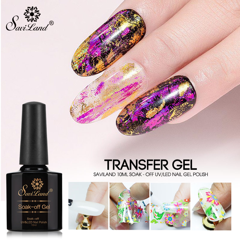 Saviland Nail Foils Glue Manicure Nail Art Gel Varnish Starry Sky Clear Adhesive Star Glue For Nail Foils Transfer Paper