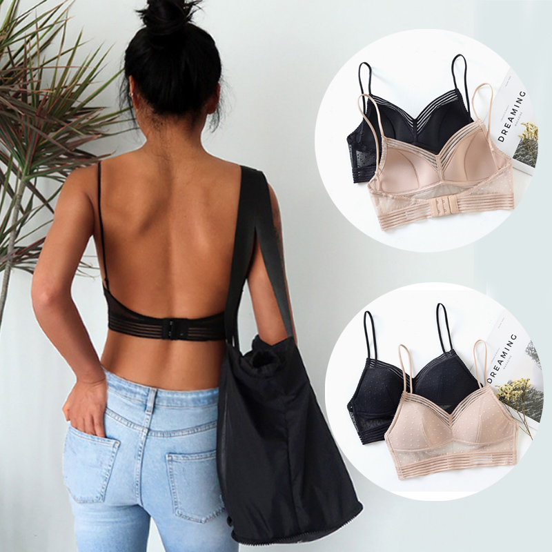 Popular New 4 Colors Soft Elastic Bustier Crop Top Comfortable Sexy Low Back Lace Bralette Bra Lace U-Shaped Backless Bra 1PC