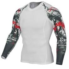 Breathable MMA Rashguard Men Compression Fitness Tights Sport Shirt Running T-shirt Quick Dry Long Sleeve Sweatshirts Gym