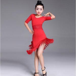 Image 5 - 새 여자 라틴 댄스 드레스 프린지 라틴 댄스 옷 키즈 경쟁 살사 의상 블랙 레드 아이 볼룸 탱고 드레스