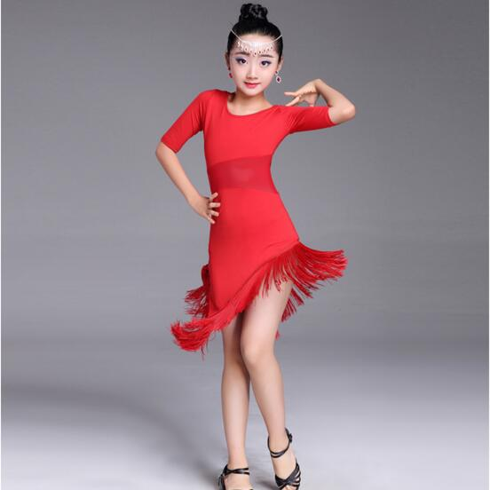 Image 5 - New Girls Latin Dance Dress Fringe Latin Dance Clothes Kids Competition Salsa Costume Black Red Child Ballroom Tango Dresses-in Latin from Novelty & Special Use