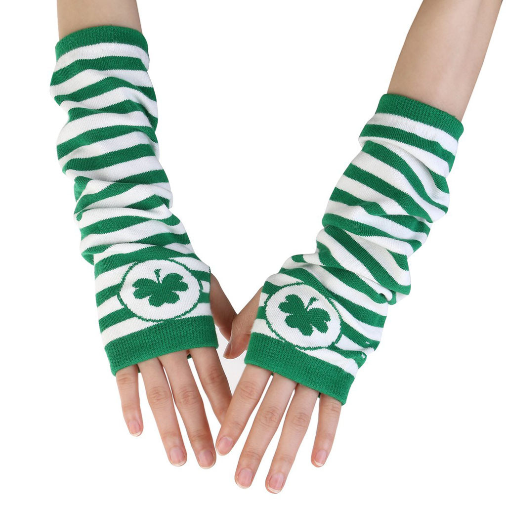 New Trend Irish St Patrick Festive Shamrock Green White Stripe Party Gloves 2019 High Quality Support Wholesale Dropshipping