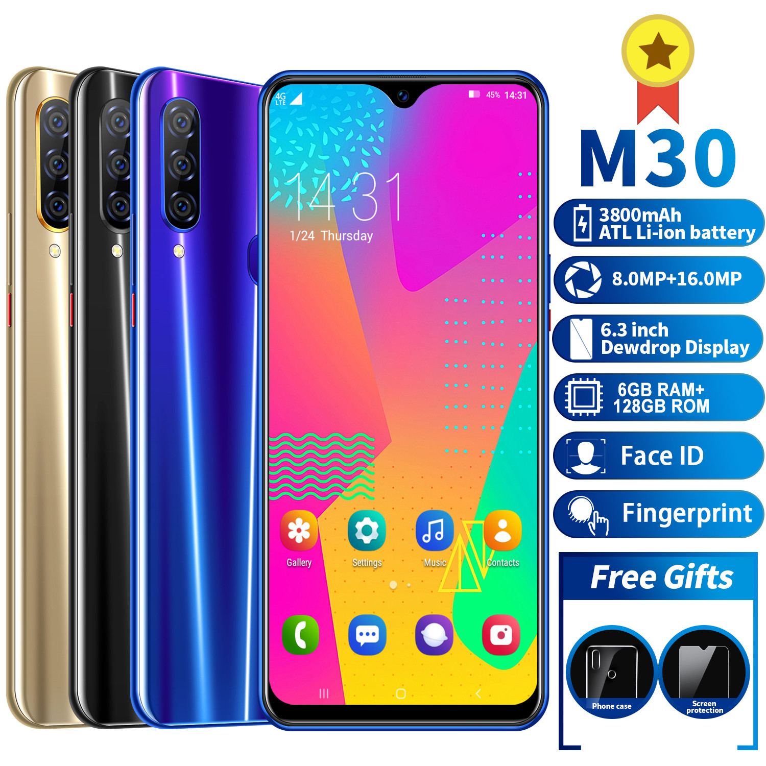 Cell Phones M30 Smartphone MTK6595 Quad Core Mobile Phone 4G LTE Phone 6GB+128GB Camera 8.0MP+16MP. 6.3