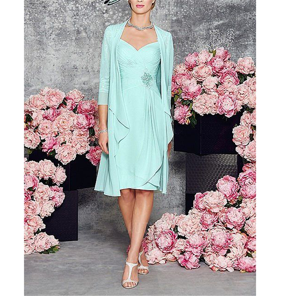 Two Pieces Zipper Mother Of Bride Dress With Long Sleeves Jacket Simple Chiffon Short Dresses Knee-Length Mother Groom