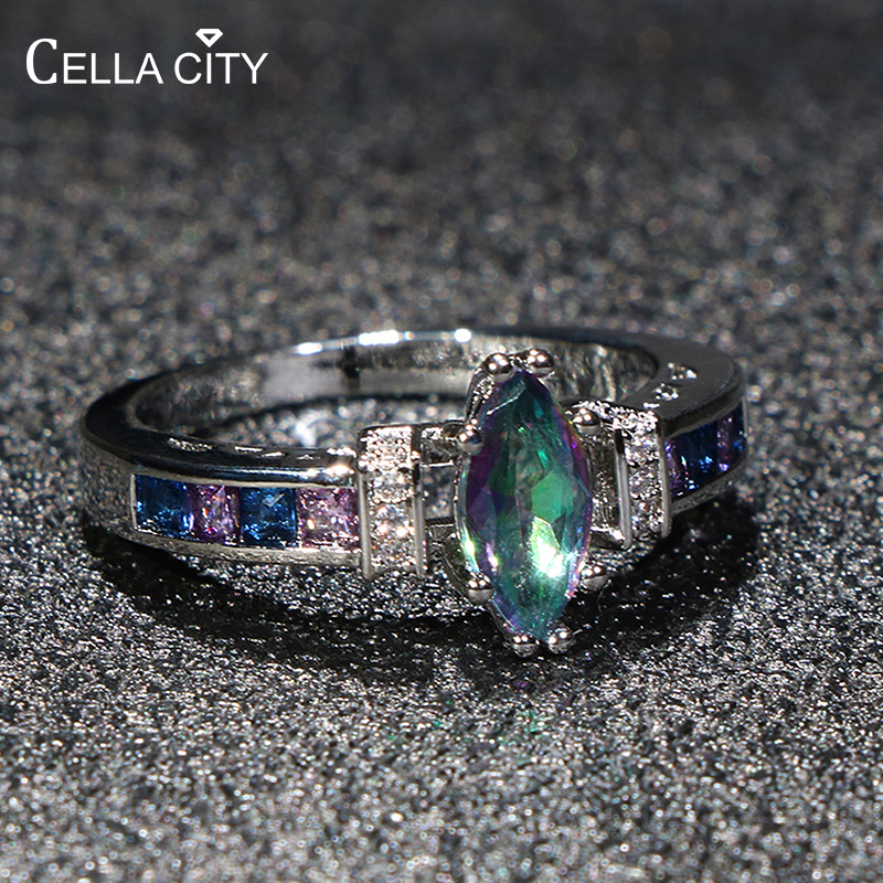 Cellacity Trendy Silver 925 Ring for Women Olive shape Topaz Fine Jewelry Amethyst 10*5mm Gemstones Purple Anniversary Gifts