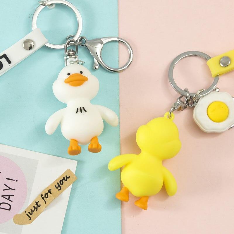 Cartoon Cute Three-dimensional Little Yellow Duck Keychain Pendant Creative Car Decoration Girl Bag Decoration Ornament Gift
