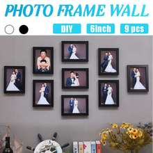 Decal Frames Living-Room Black 9pcs-Picture Sticker Wall-Mural Photos Home-Decor White-Color