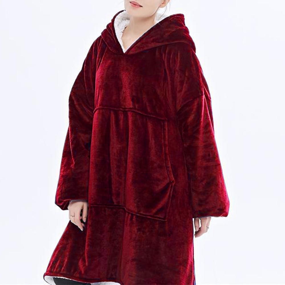 Women Sweatshirt Robe Winter Hoodies Outdoor Hooded Coats Warm Comfy Bathrobe Christmas Fleece Blanket Sudadera Mujer