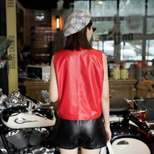 Top Quality Women Sheepskin Genuine Leather Pullover Vest Loose Fit Irregular Sleeveless Waistcoat Rivet Motor Biker Leather Top(China)