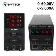 IVYTECH-fuente de alimentación de laboratorio ajustable, fuente de alimentación de 60V 5A, estabilizador de corriente regulada por voltaje Digital