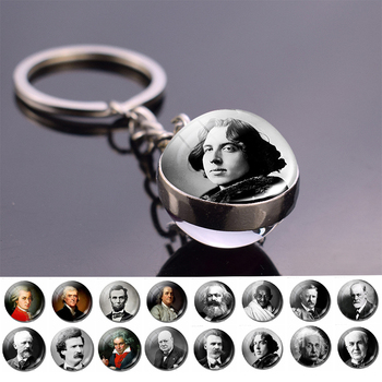 Boho Long Chains Clear Glass Ball Pendant Keychain Women Gifts Vintage Famous Politician Artist Thinker President Photo Jewelry image