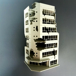 1:100 / 1:144 Sand Table Ruined Building Model Battle Damaged Building Model - Battle Damaged Version