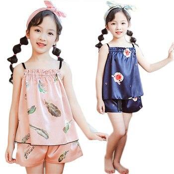 Silk Kids Pajamas Sets Summer Children For Girls 2020 Cartoon Girl Sleepwear Teenager Pyjamas Clothing