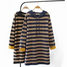 Plus size Sweaters for women fashion & Casual autumn winter Loose Hooded stripe PULLOVER lady E2-952