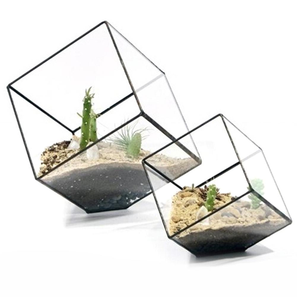Geometric Cubes Hydroponic Plant Vases Transparent Glass Terrarium Home Table Bonsai Decor Plant Fleshy Flower Holder Vase Pot