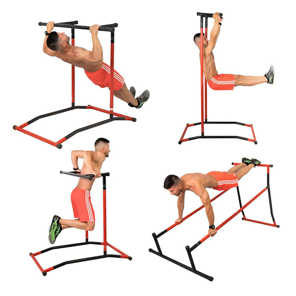 Portable Pull Up Dip Station Gym Bar Power Tower Chin Up Multi Function Steel
