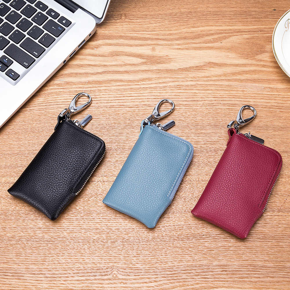 SOUTH GOOSE Brand Unisex Leather Slim Car Key Holders Fashion Housekeeper Keys Organizer Lady Zipper Key Wallets Card Bag Gifts