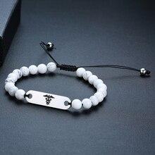 Medical Alert Perlen Armband ID Einstellbare Schnur Armband Für Frauen Männer Benutzerdefinierte Diabetes Epilepsie Allergie Freies Gravur