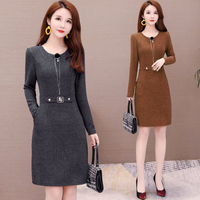 Women Autumn Winter Long Sweater Dress Female Long Sleeve A line Knitted Mini Vestidos Office Lady Casual Plus Size Dresses L 5X
