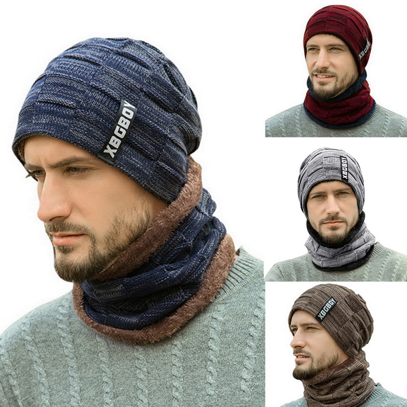 Winter Men 2-Pieces Beanie Hat Scarf Set Warm Knit Thick Skull Cap Plush Knit Cap 2020 Fashion