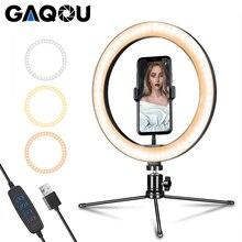 6 10 cal LED lampa pierścieniowa fotografia Selfie bezstopniowa oświetlenie kamery lampka telefonu z Mini statyw do makijażu wideo Youtube Studio