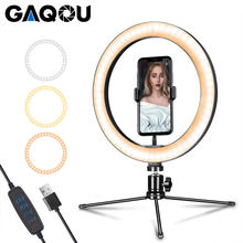 6 10 inch LED Ring Lamp Photography Selfie Stepless Lighting Camera Phone Light with Mini Tripod for Makeup Video Youtube Studio