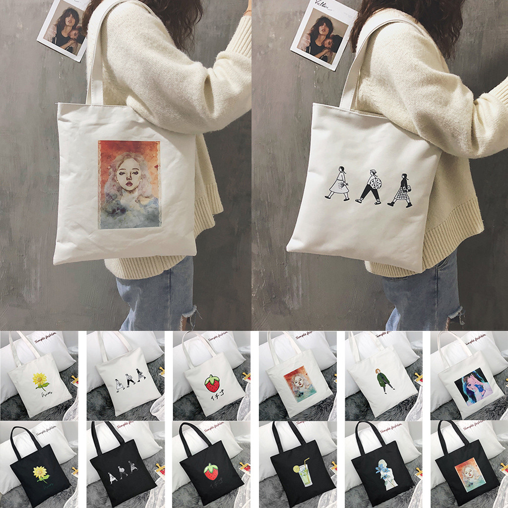 Tote-Bags Canvas Printing Reusable Fashion Women Cartoon Bolsa-De-Compras -F