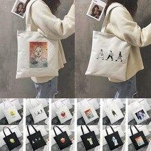 Многоразовая сумка для покупок, модная женская Холщовая Сумка-тоут, Эко сумка с принтом, мультяшная сумка bolsa de compras, сумка-шоппер, сумки на плечо# F