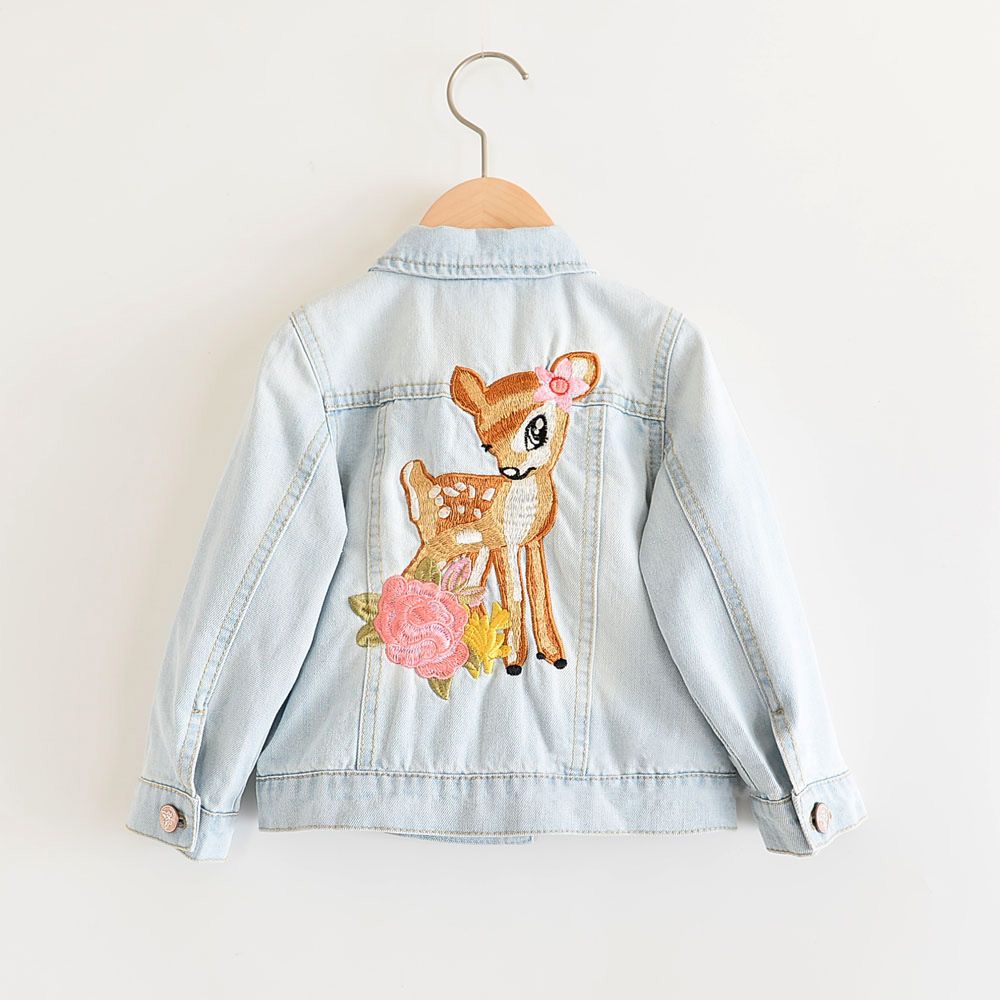nova primavera meninas jaquetas criancas denim casaco dos desenhos animados animal bordado criancas jeans casaco criancas