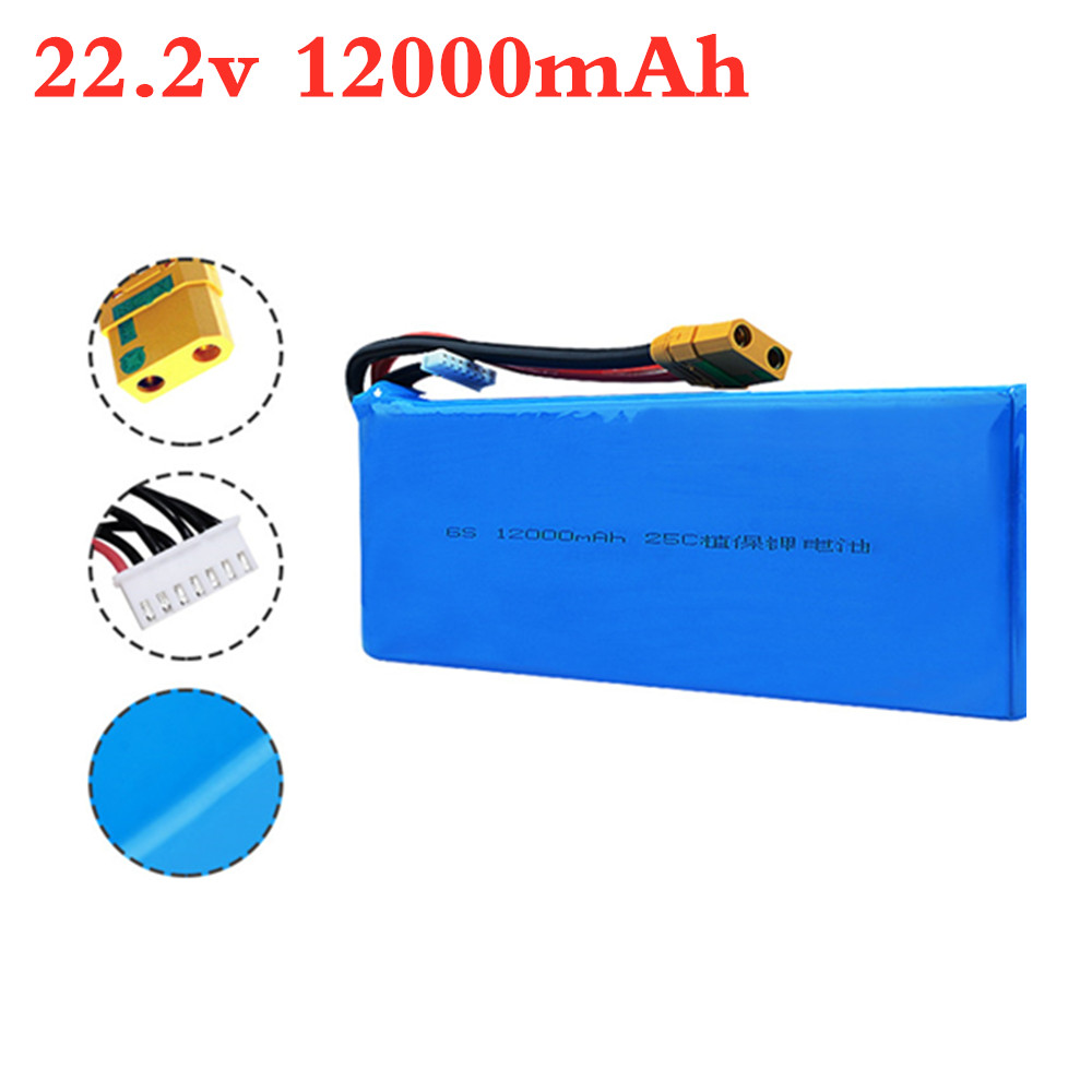 6s 22.2V <font><b>12000mAh</b></font> 25C <font><b>Lipo</b></font> Battery for Agricultural Spraying Drone Spare Parts 22.2v Lithium Battery Pack 1PCS image