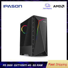 IPASON VGAME Gaming Desktop Computer AMD R5 2600 1050TI Ugrade into GTX1060 3G/RX580 4G/8G high-frequency RAM/240G SSD Gaming PC