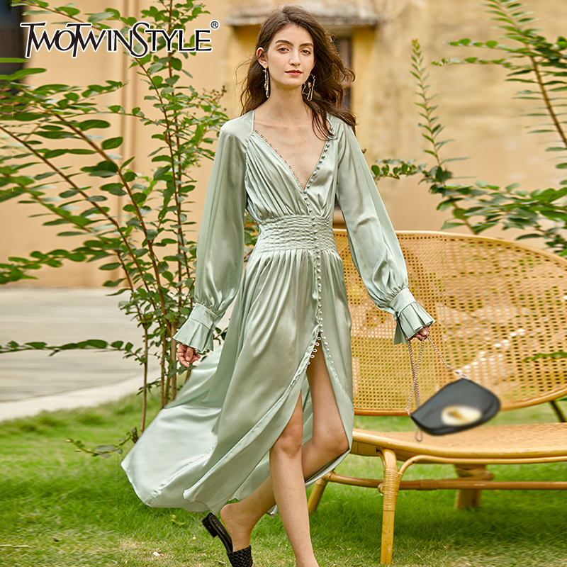 TWOTWINSTYLE Vintage Tunic Dress For Women V Neck Long Sleeve High Waist Midi Elegant Dresses Female 2020 Fall Fashion New Tide